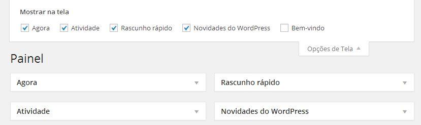 Opções de Tela do WordPress Aberta