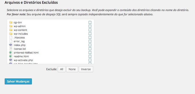 Backup WordPress com Dropbox - Excluindo pastas para o backup