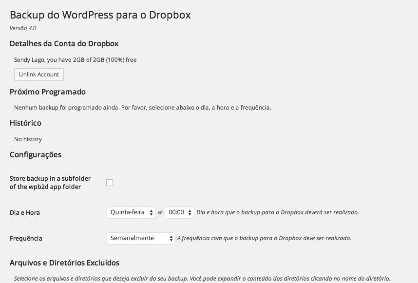 Backup WordPress com Dropbox - Página de Configuração após autorização