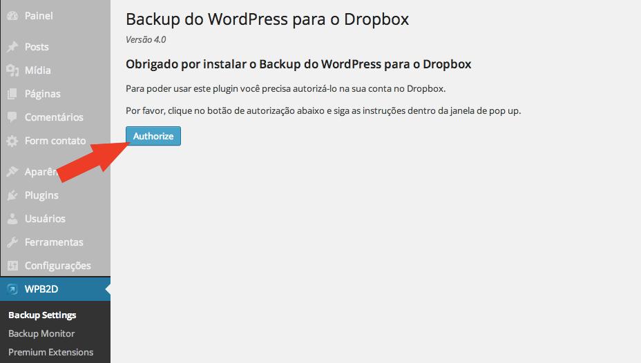 Backup WordPress com Dropbox - Página de Configuração