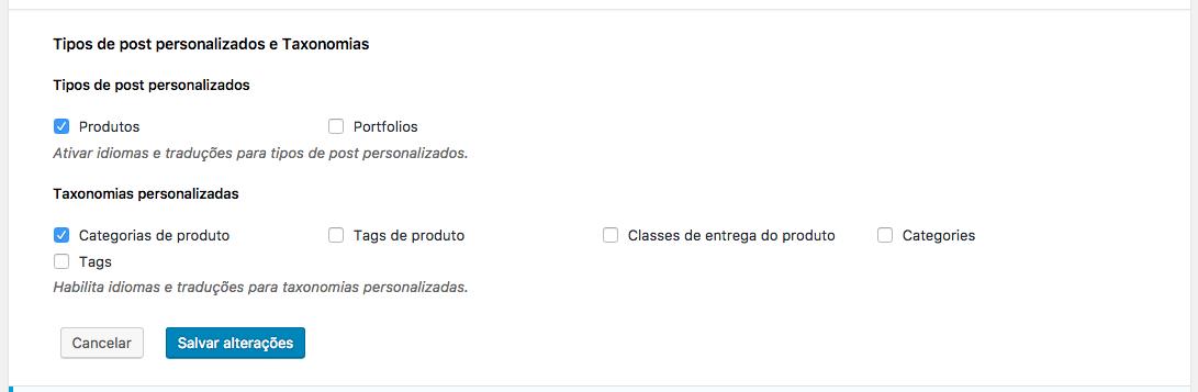 Como Traduzir um Site em Varios Idiomas no WordPress - Configuracoes para Tipos de Posts Personalizados e Taxonomias