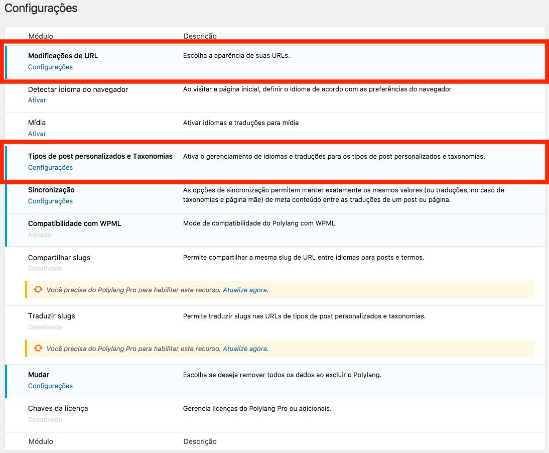 Como Traduzir um Site em Varios Idiomas no WordPress - Pagina de Configuracoes