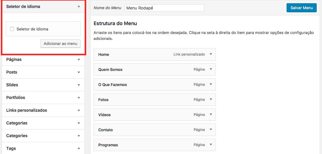 Como Traduzir um Site em Varios Idiomas no WordPress - Seletor de Idiomas no Menu