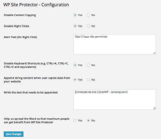 Proteção de Conteúdo - WP Site Protector Configuração
