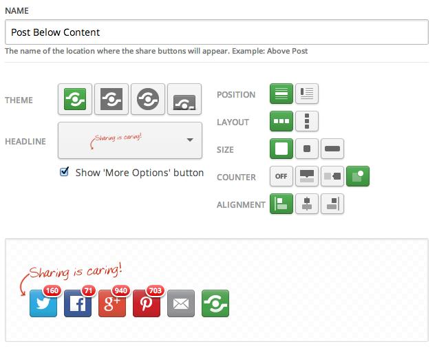Shareaholic - Configurando estilo e alinhamento dos botões