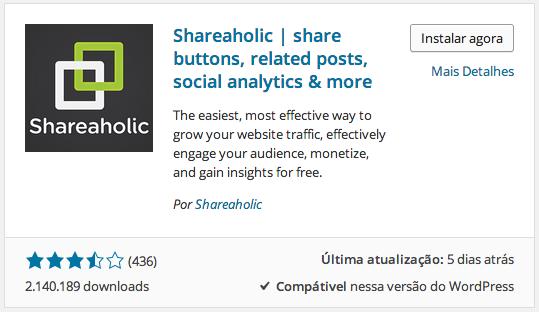 Shareaholic - Instalação no WordPress