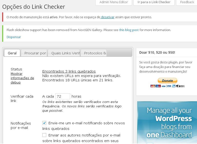 Broken Link Checker - Página de configuração