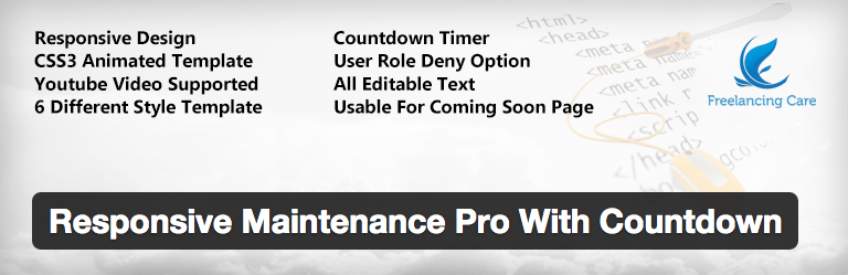 Plugins WordPress Under Construction - Responsive Maintenance Pro With Countdown