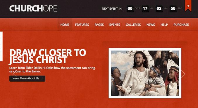 Temas WordPress para Igrejas - ChurcHope