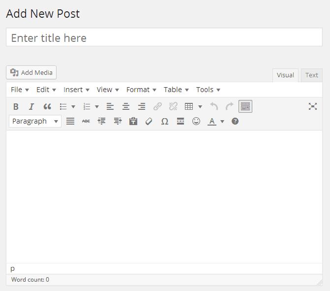 WordPress Editor WYSIWYG - Editor de texto padrão