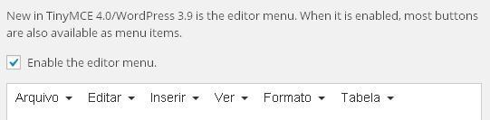 WordPress Editor WYSIWYG - Habilitando novo menu com TinyMCE Advanced