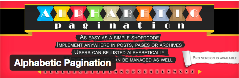 Plugins WordPress Pagination - Alphabetic Pagination