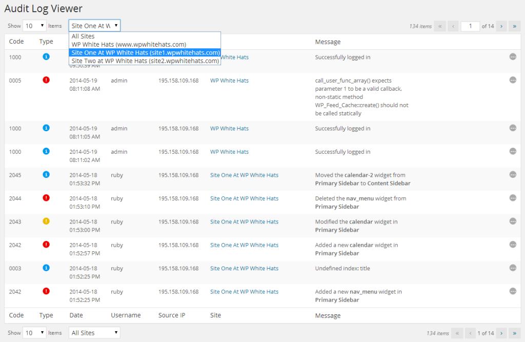 WordPress Admin - Audit Log Viewer por Site em WP Security Audit Log