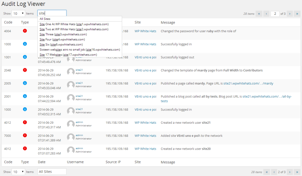 WordPress Admin - Audit Log Viewer por Termo em WP Security Audit Log