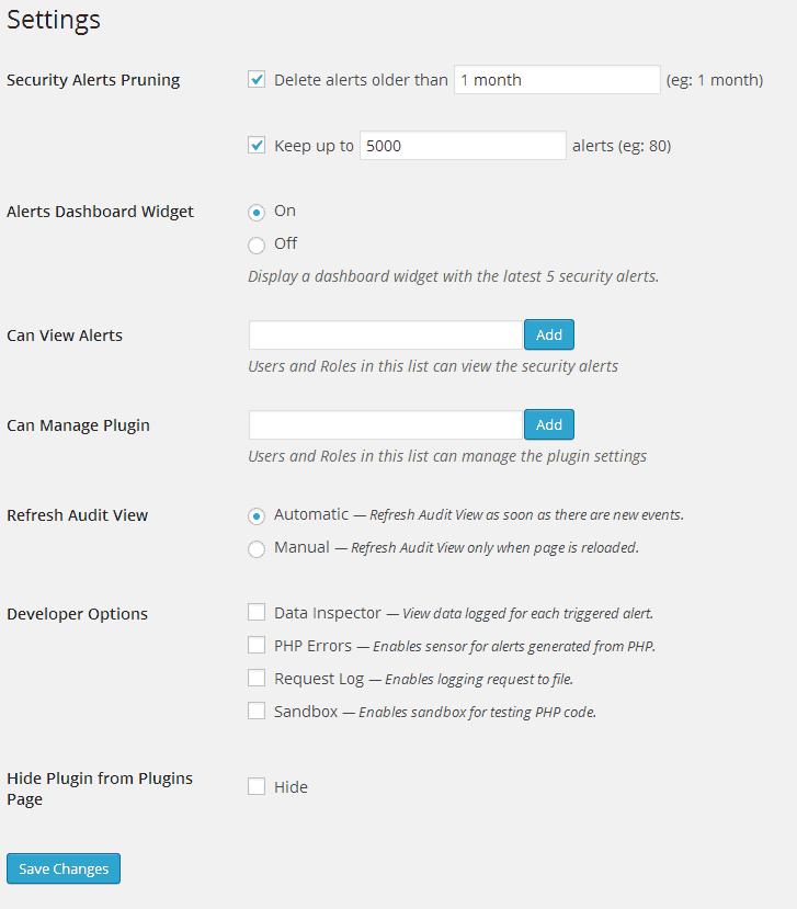 WordPress Admin - Configurações do WP Security Audit Log