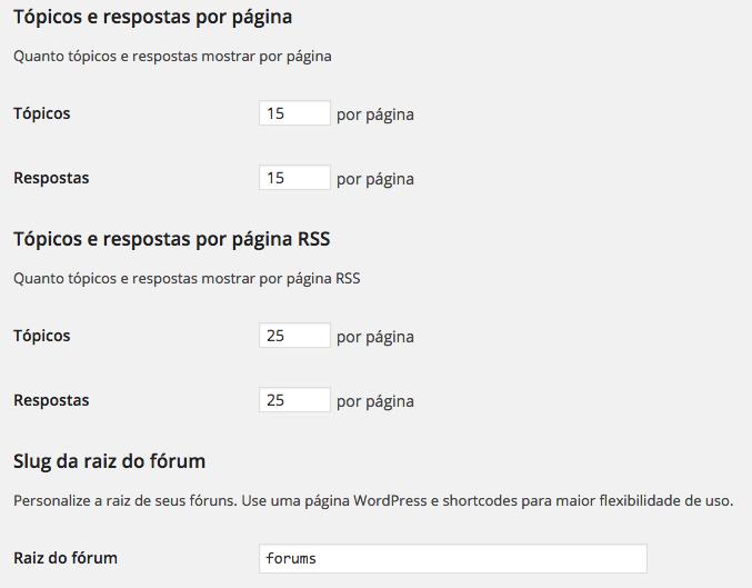 WordPress Forum - Configurações de Tópicos e Respostas bbPress