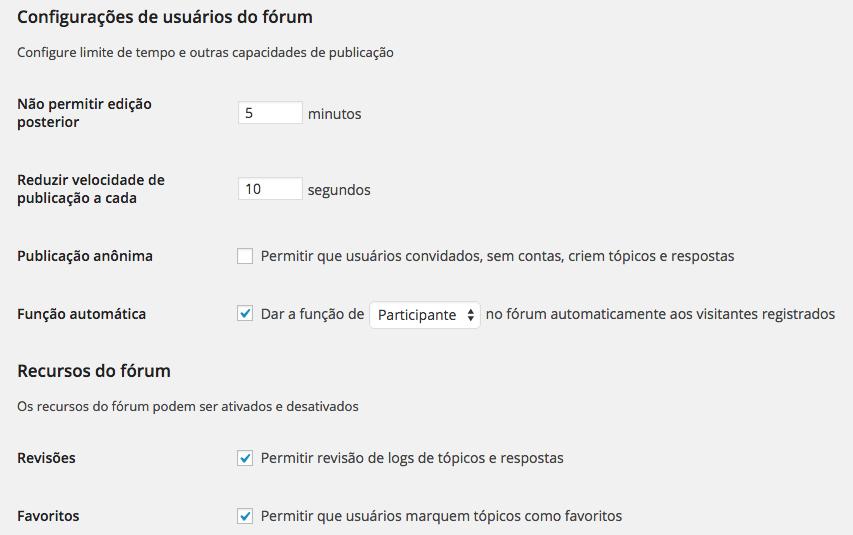 WordPress Forum - Configurações de Usuário bbPress