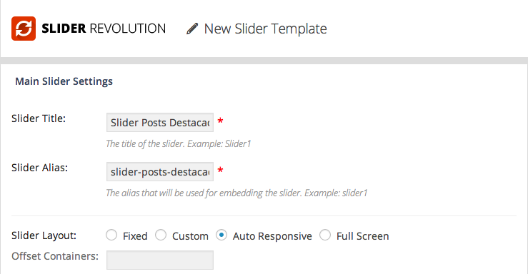 WordPress Revolution Slider - Configuração do Novo Template