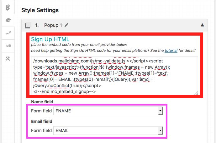 Como Criar e Configurar um Popup no WordPress com PopupAlly - Area para Colar o Codigo HTML do MailChimp