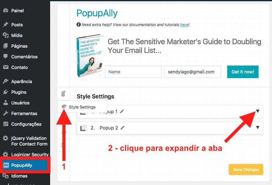 Como Criar e Configurar um Popup no WordPress com PopupAlly - Pagina de Configuracao do Popup Style Settings