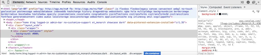 Inspetor Google Chrome - Adicionando regra CSS pelo inspetor