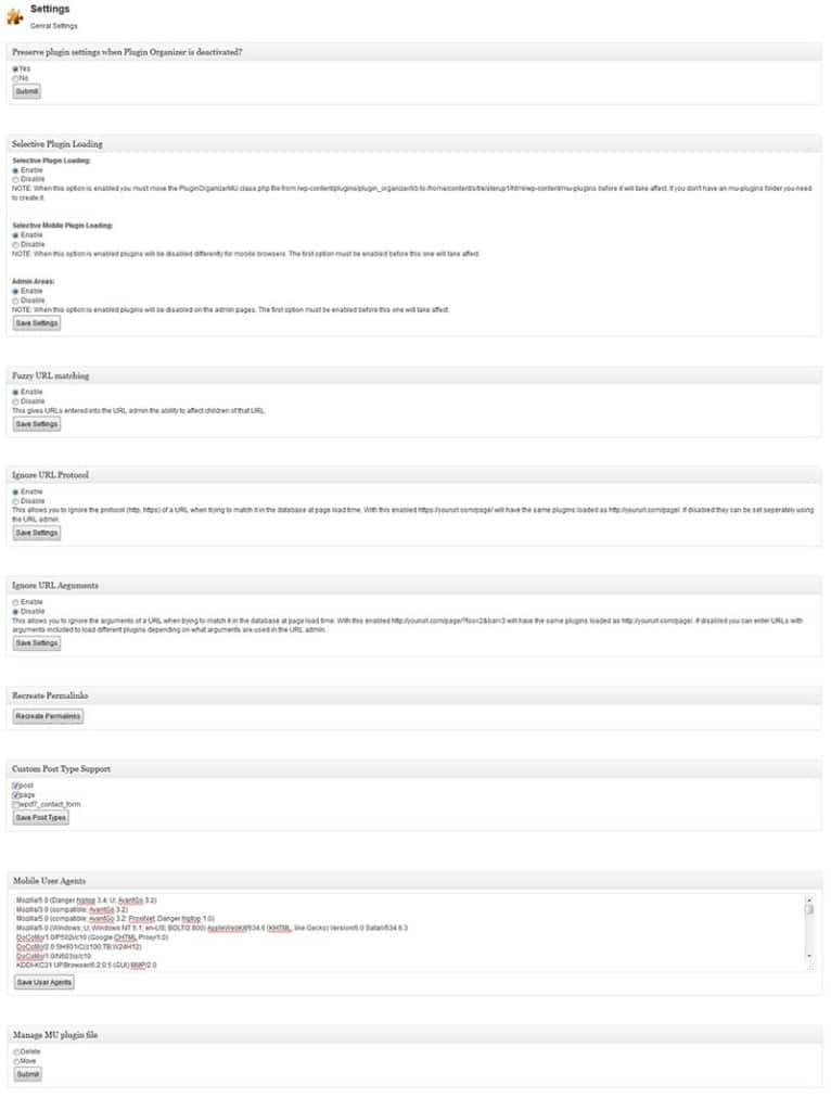 Plugins WordPress - Plugin Organizer Configuração principal