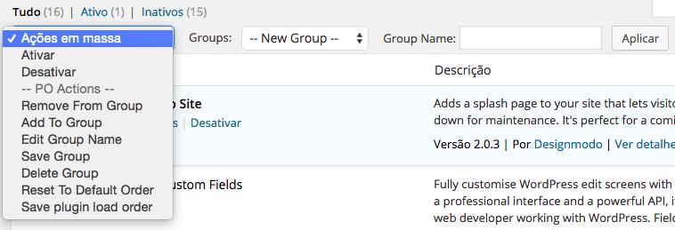 Plugins WordPress - Plugin Organizer Grupos e Ordem de carregamento