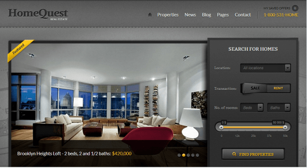 Temas WordPress para Imobiliarias - HomeQuest