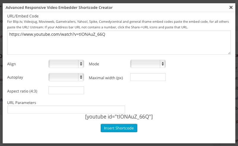 Videos no WordPress - Adicionando URL do Video Advanced Responsive Video Embedded