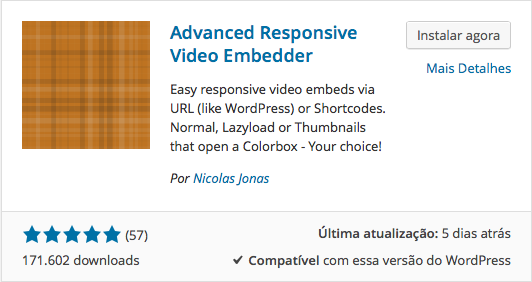 Videos no WordPress - Instalação do Advanced Responsive Video Embedded