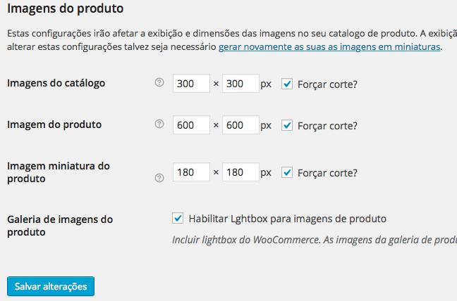 WooCommerce - Configuração Produtos Exibição Imagens