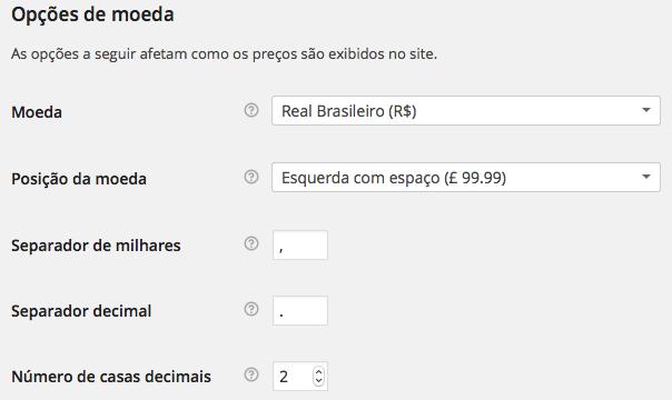 WooCommerce Configurações - Opções de moeda