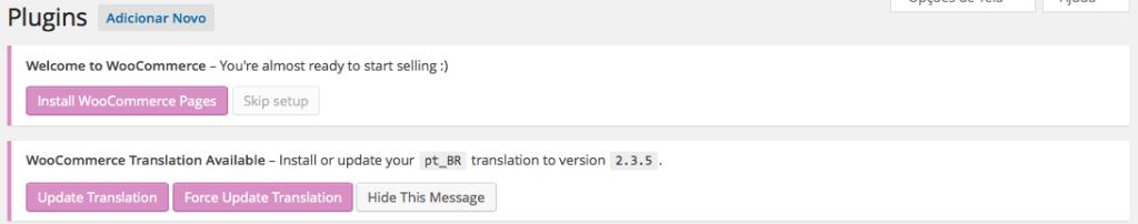 WooCommerce Instalação Tradução