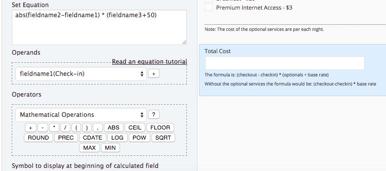 Formulário com Cálculo Automático - Configuração de campo com Calculated Fields Form