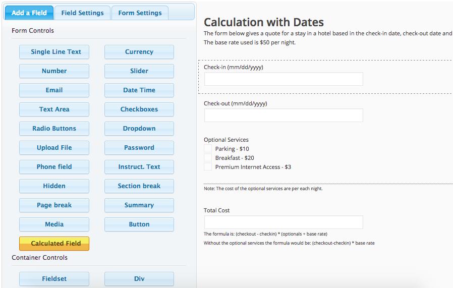 Formulário com Cálculo Automático - Configuração do formulário com Calculated Fields Form