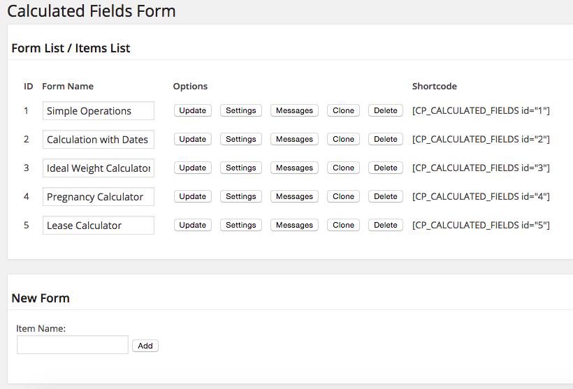 Formulário com Cálculo Automático - Página de Configuração Calculated Fields Form