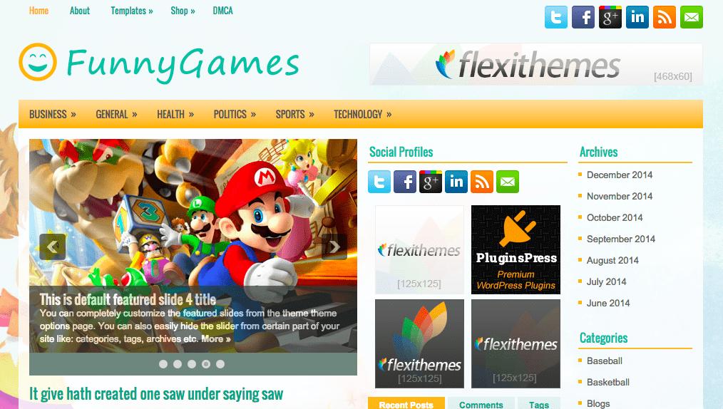 Temas WordPress Games - FunnyGames