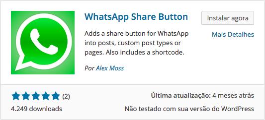 WhatsApp e WordPress - Instalação do Plugin WhatsApp Share Button