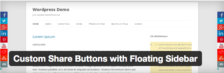 Widget Plugins WordPress - Custom Share Buttons with Floating Sidebar