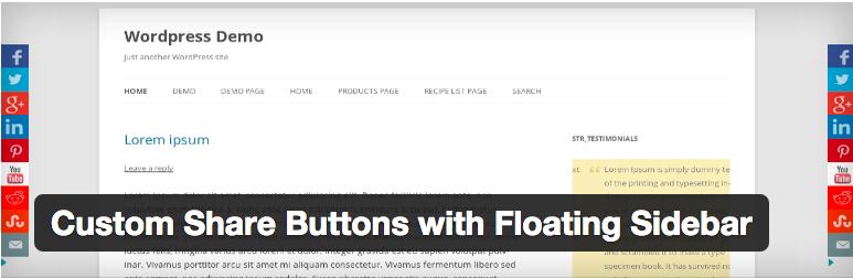 Widget Plugins WordPress - Custom Share Buttons with Floating Sidebar