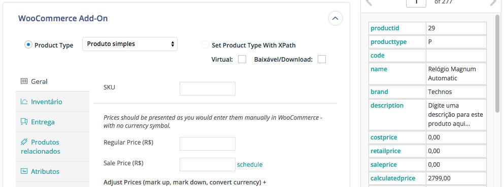 Importação WooCommerce - Drag e Drop configuração do produto a ser importado 2