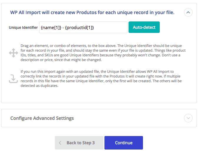 Importação WooCommerce - Identificador