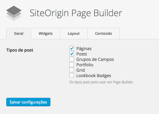 Page Builder by SiteOrigin - Configurações do Plugin