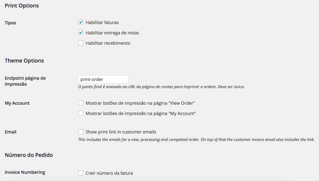 Plugin WooCommerce Print Invoice - Configurações 2