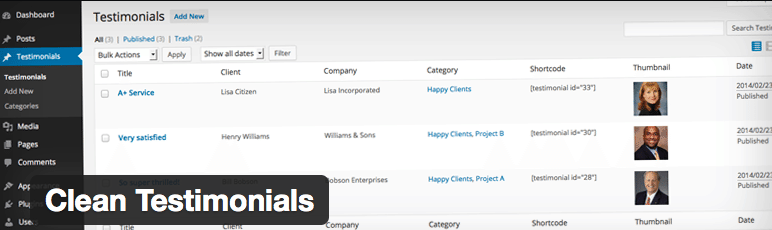 Plugins Depoimentos WordPress - Clean Testimonials