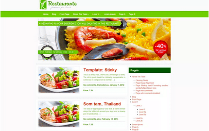 Temas WordPress Restaurante - Restaurante