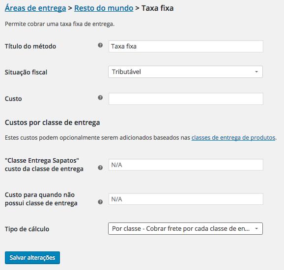 WooCommerce Plugin - Classe de Entrega no Metodo Taxa Fixa