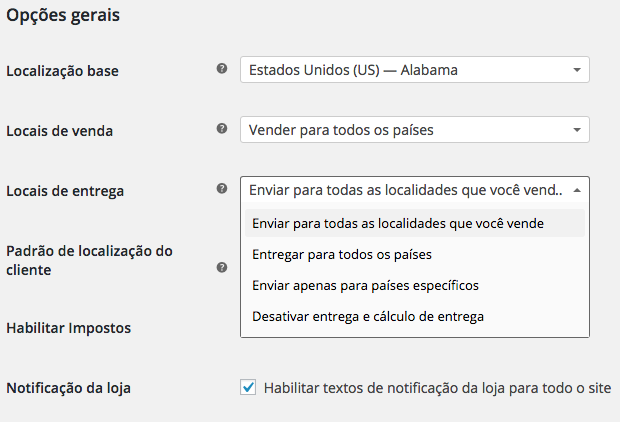WooCommerce Plugin - Configuracoes Gerais