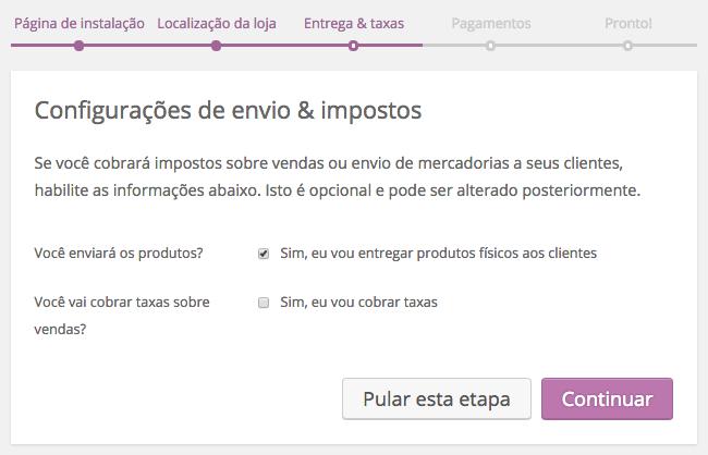 WooCommerce Plugin - Entrega e Taxas no Assistente de Configuracao