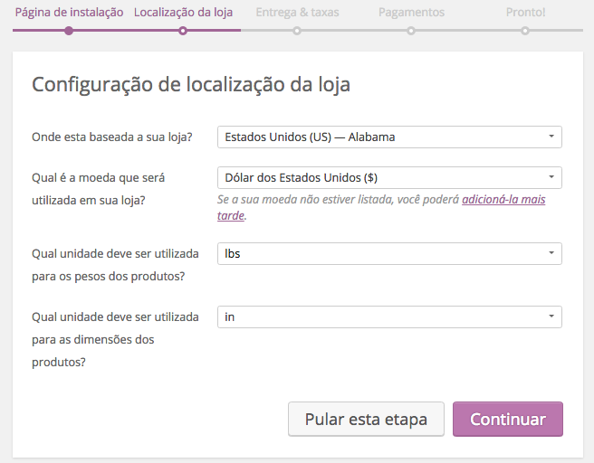WooCommerce Plugin - Localizacao da Loja no Assistente de Configuracao